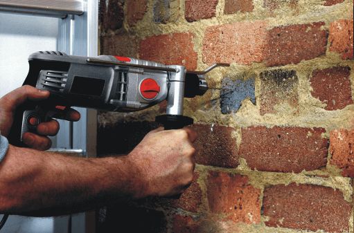 Drilling-into-brick