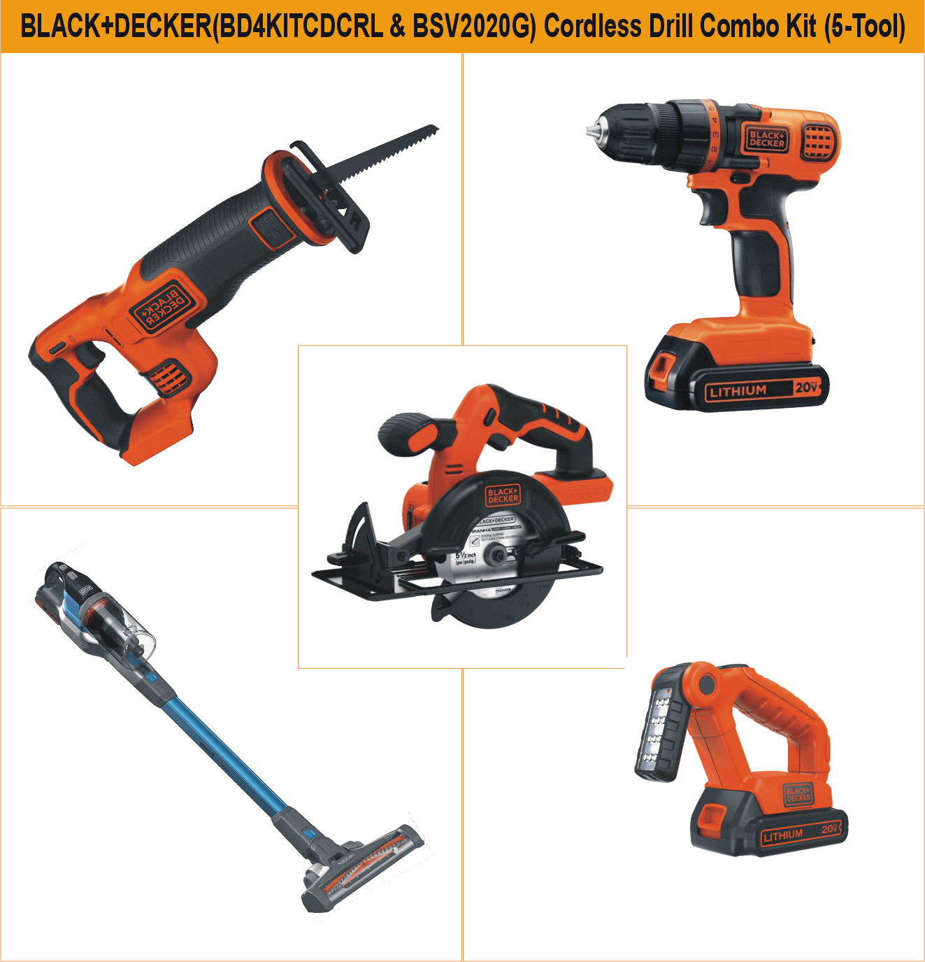 black-decker-bd4kitcdcrl-bsv2020g-20v-max-cordless-drill-combo-kit-with-power-series-extreme-cordless-stick-vacuum