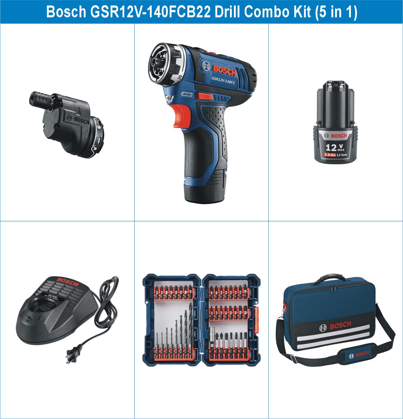 Bosch GSR12V-140FCB22 12V Max 5-In-1 Drill System Combo Kit
