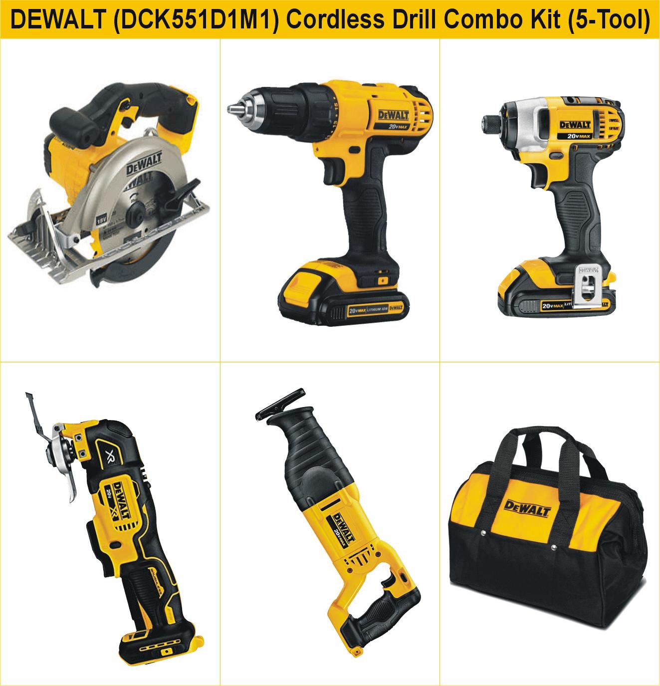 DEWALT (DCK551D1M1) 20V MAX Cordless Drill 5-Tool Combo Kit