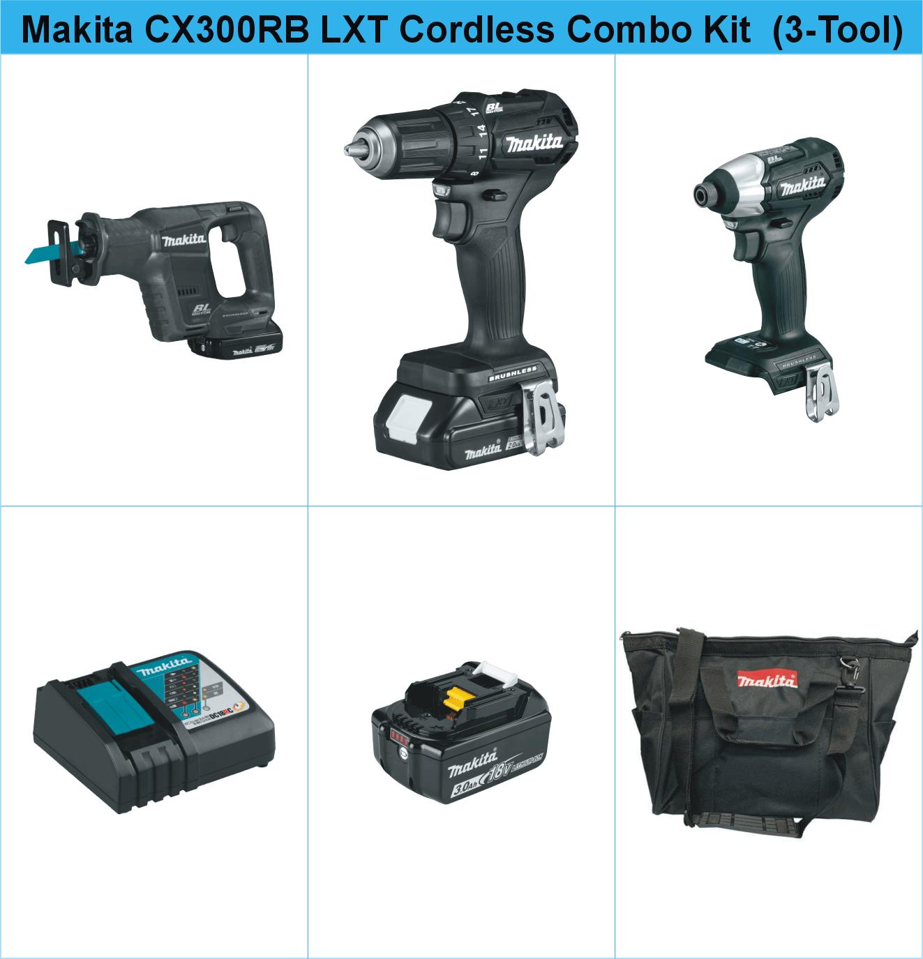 Makita CX300RB 18V LXT Sub-Compact Brushless Cordless Combo Kit