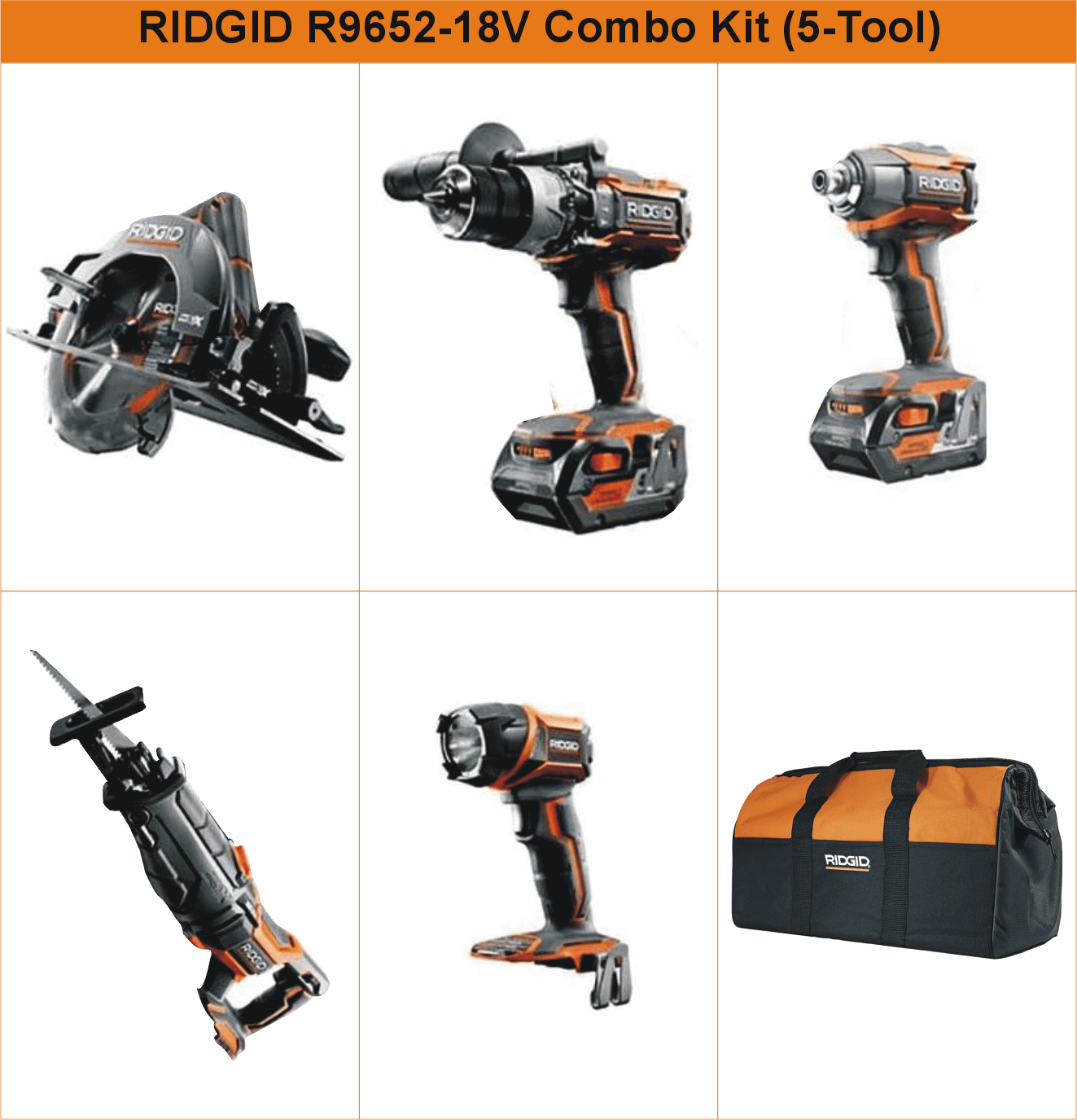 ridgid-r9652-18v-tool-5-pieces-combo-kit